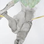 100 x 80 cm.  Linen canvas.Graphite. charcoal, copper leaf, verdigris, 23 ct gold leaf