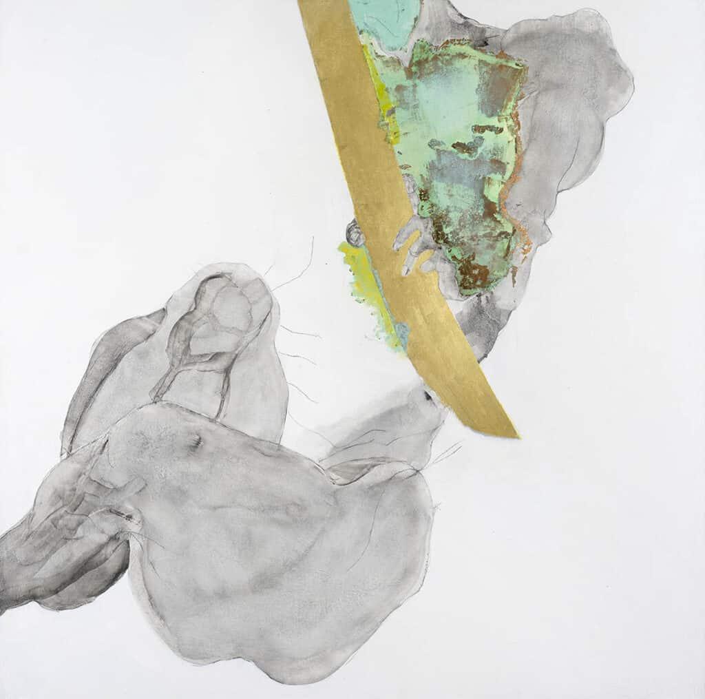 90 cm square.  Linen Canvas.  Graphite, charcoal, copper leaf, verdigris, gold paint
