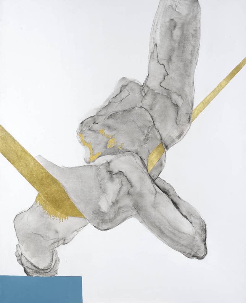 100 x 80 linen canvas.  Graphite, charcoal, acrylic paint, 23 ct gold leaf