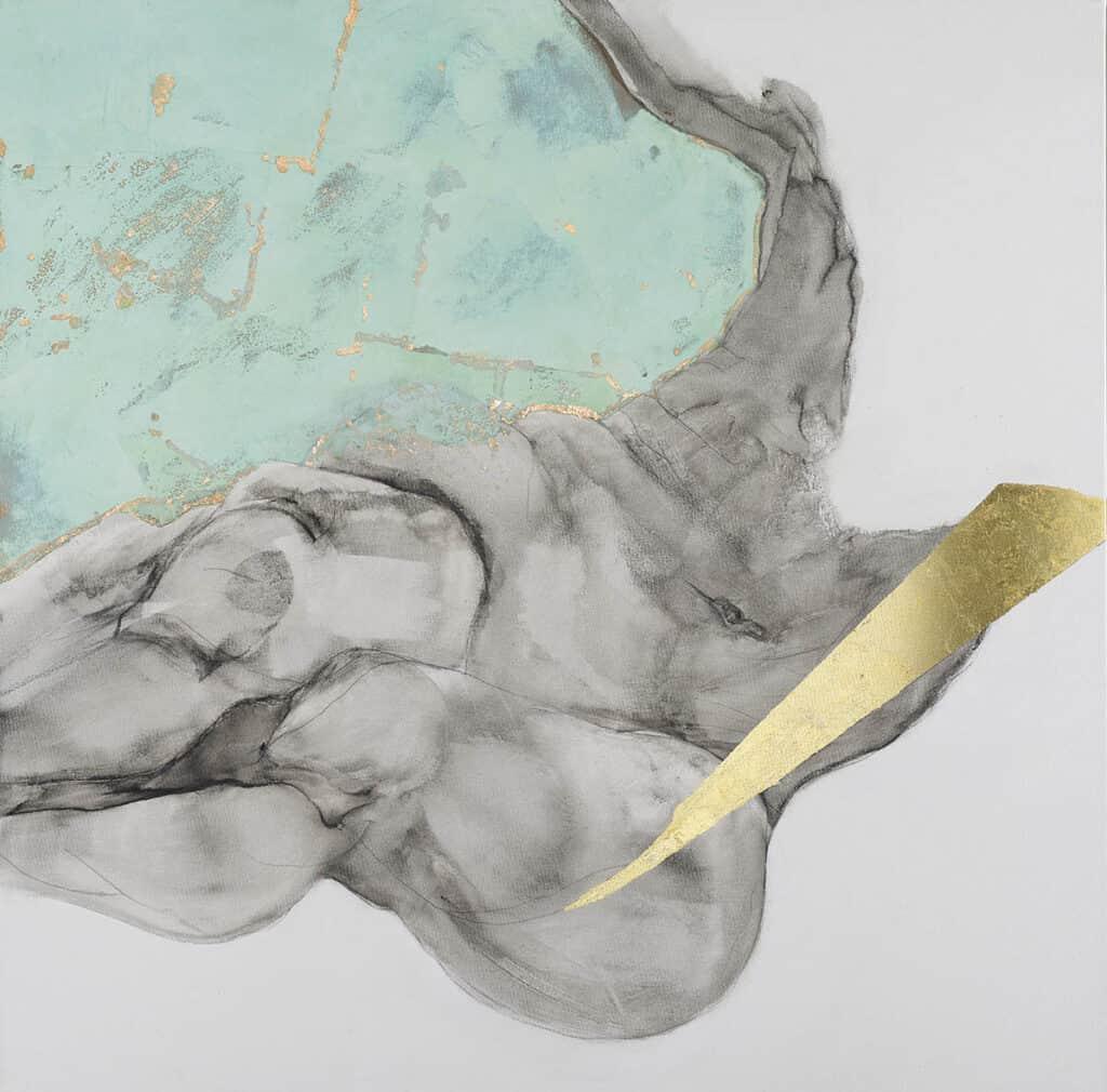 90 x 90 cm  cotton canvas.  Graphite, charcoal, copper leaf, verdigris, 23 ct gold leaf